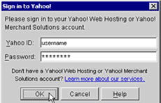 If you are not already signed in, you will be asked to sign in to your Yahoo! Web Hosting Account.